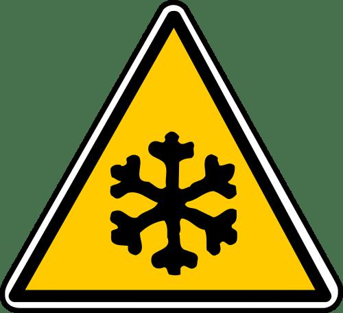 Warnschild Glätte, Eis, Schnee, Winterdienst